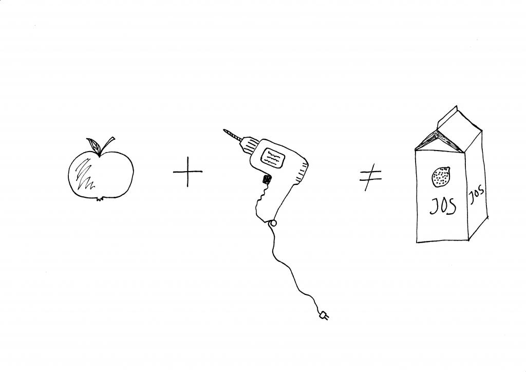 Utan rätt råvara (data) och utan rätt verktyg (analysmetoder) kan man aldrig få det resultat man önskar. Men kan man, som i detta fall nöja sig med en halvtaskig äppeljuice så är både äpple och borrmaskin helt rätt. Bild © Ida Bodén